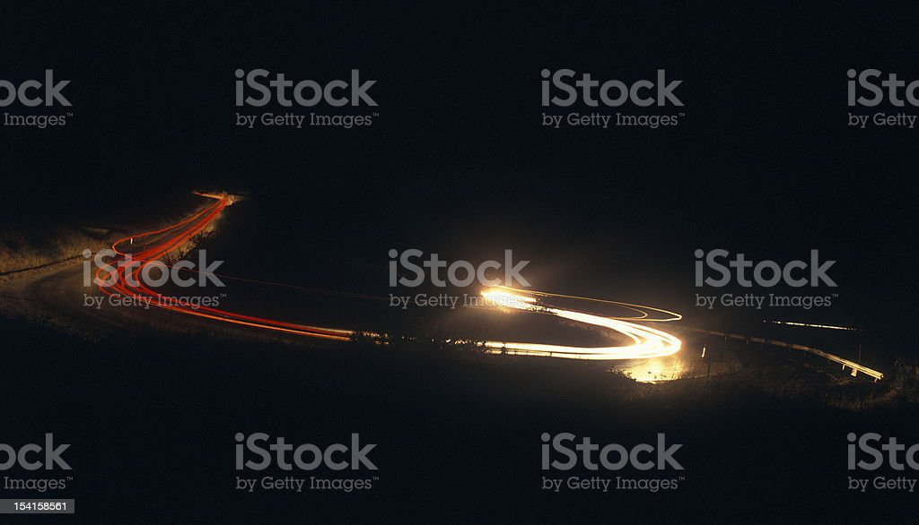 Mountain road at night. stock photo