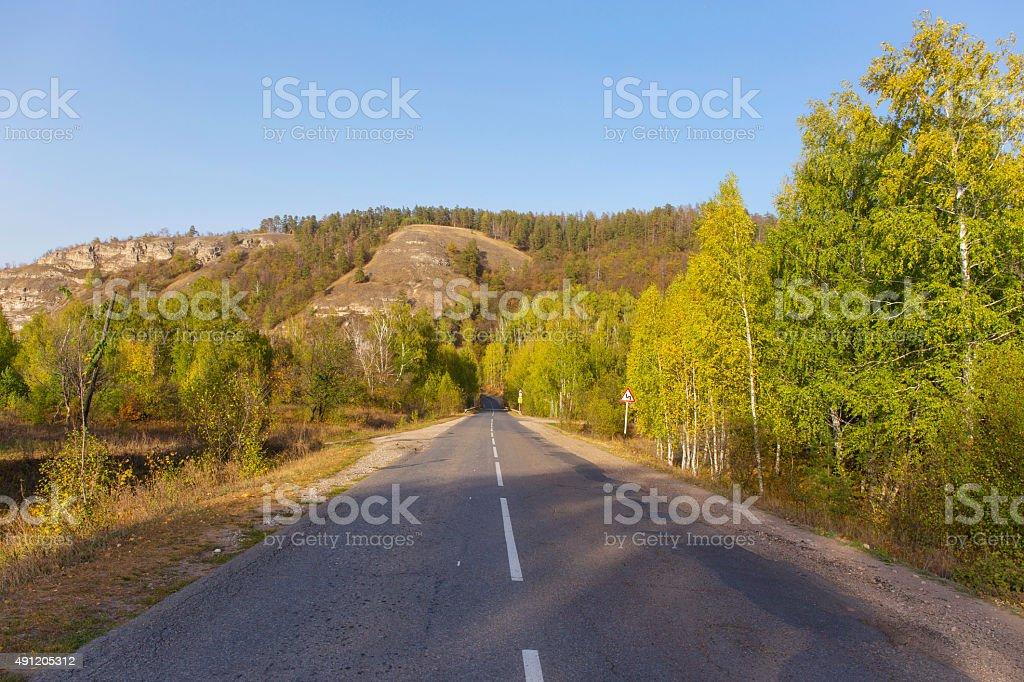 mountain road autumn. stock photo
