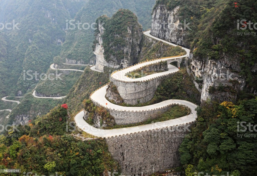 Mountain road, China stock photo