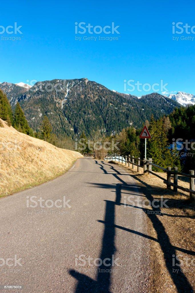 Mountain road, Dolomites, Italy stock photo
