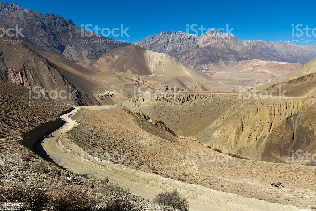 mountain road from Kagbeni to Muktinath, Nepal stock photo