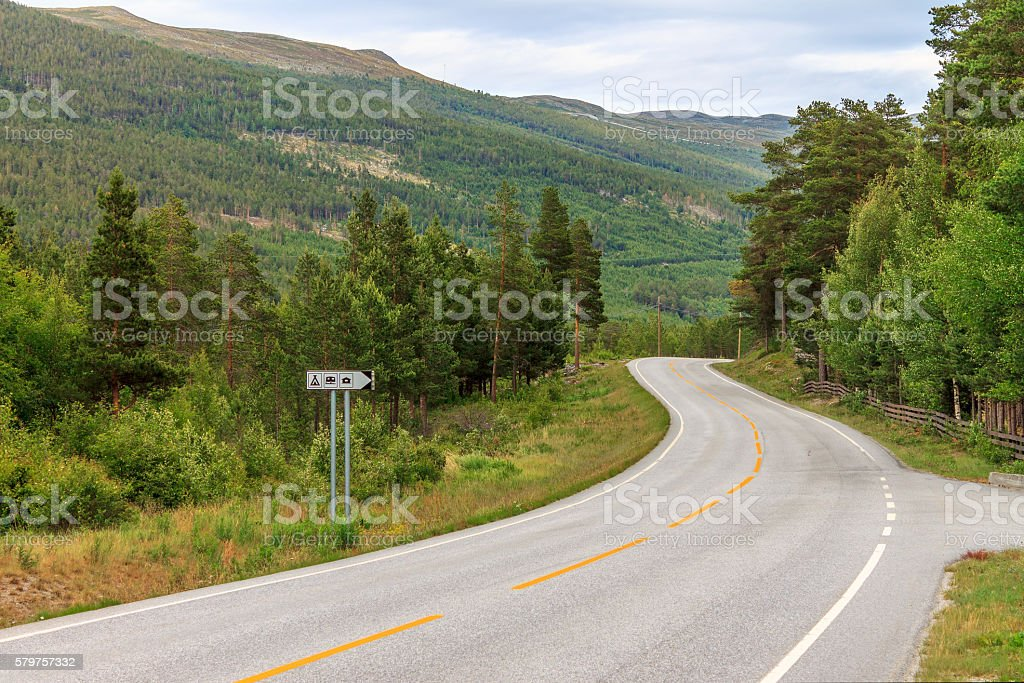 Mountain road in Norway, community Lom stock photo