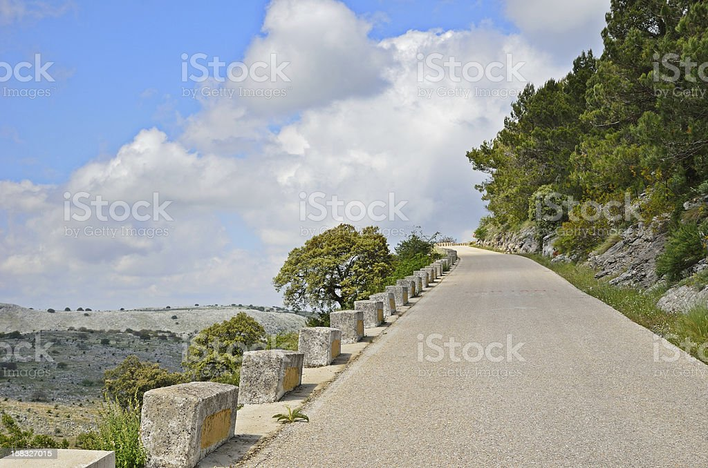 Mountain road in spring Spain stock photo