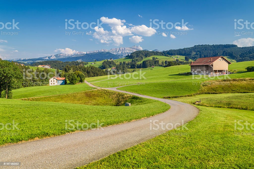 Mountain road in the Alps, Appenzellerland, Switzerland stock photo