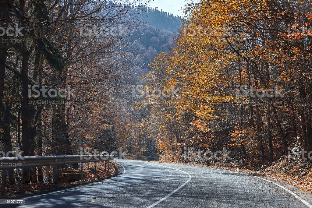 Mountain road in the autumn bright a sunny day stock photo