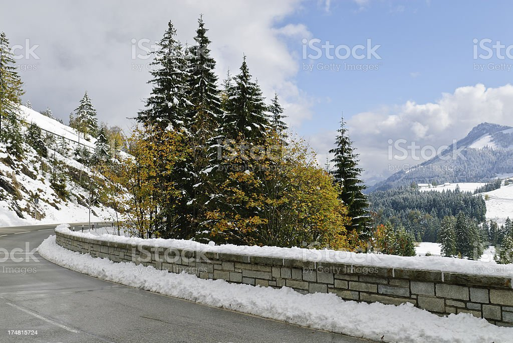 Mountain road in the winter royalty-free stock photo