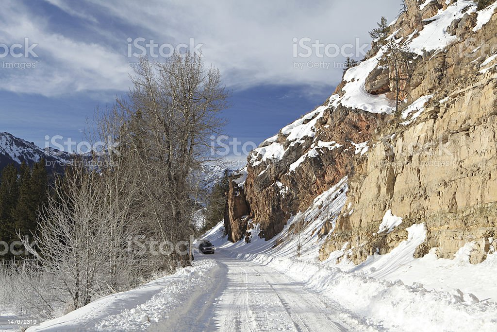 mountain road in winter royalty-free stock photo