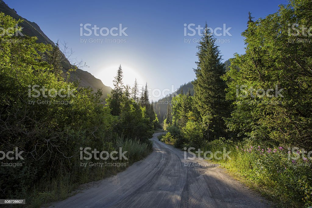 mountain road, morning stock photo