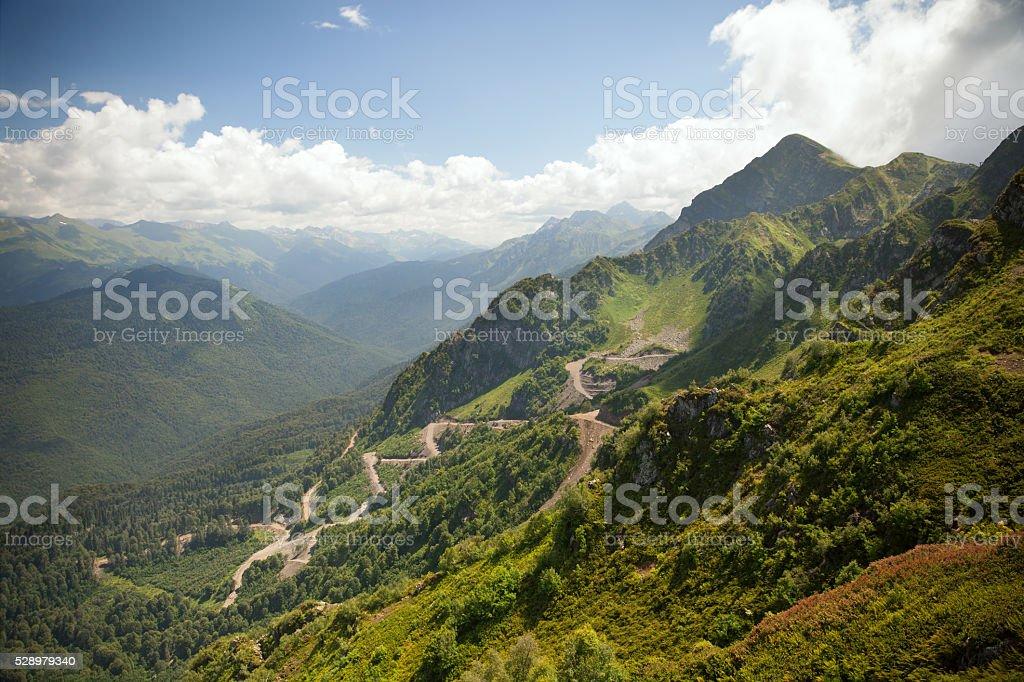 Mountain road near Krasnaya Polyana, Sochi, Krasnodar Krai stock photo