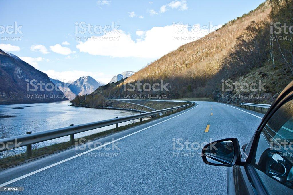 Mountain road, Norway stock photo