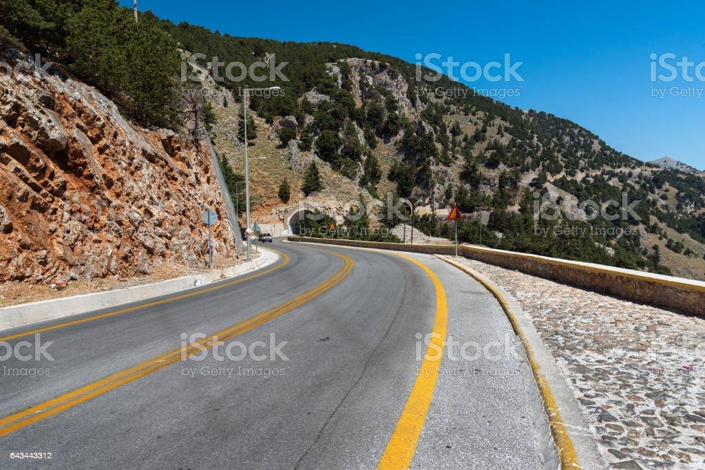 Mountain road on Crete island, Greece stock photo