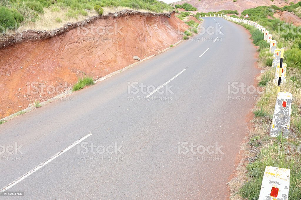 Mountain road on the island of Madeira stock photo