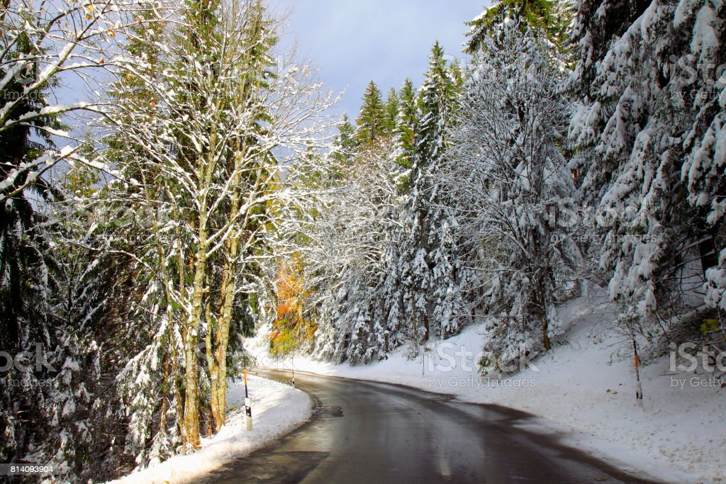 Mountain Road pass in Waxenstein Bavarian Alps, idyllic Pine trees woodland under snow landscape, majestic alps valley, dramatic Bavaria german Snowcapped mountain range panorama, Berchtesgaden alps, Germany stock photo