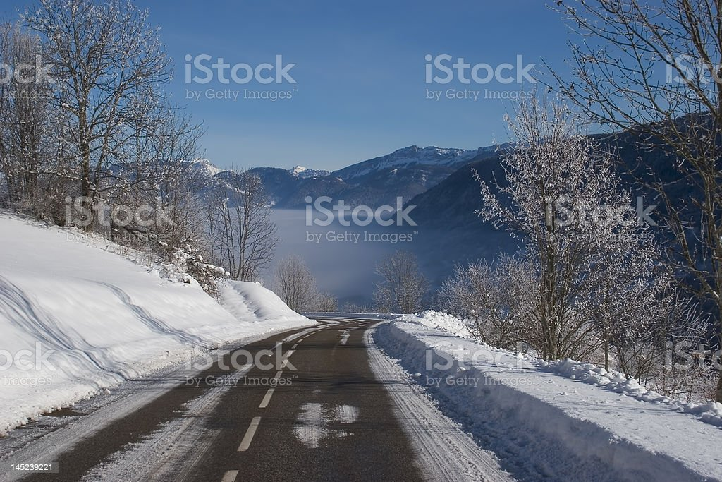 Mountain road snow-covered royalty-free stock photo