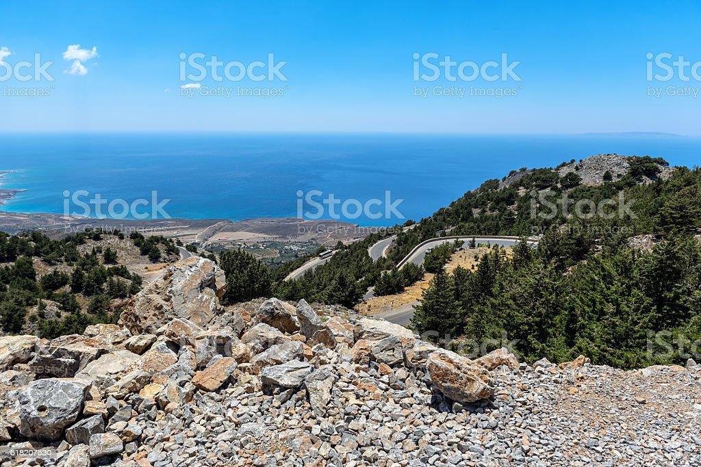 Mountain road to Chora Sfakion on Crete island stock photo