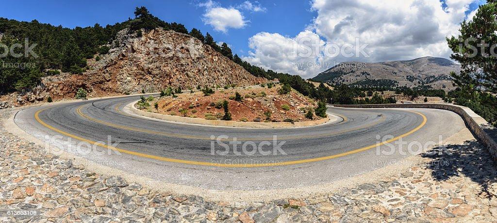 Mountain road to Chora Sfakion town at Crete island stock photo