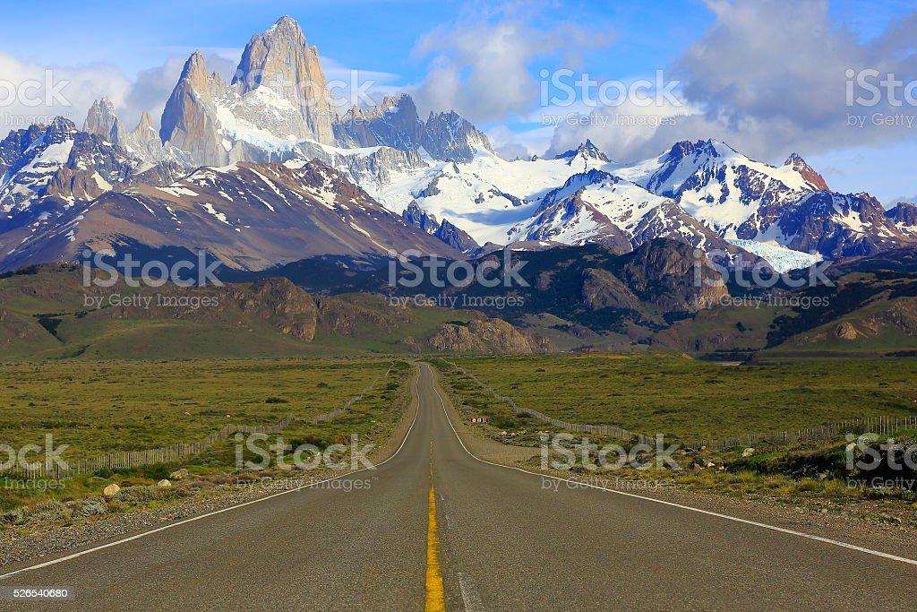 Mountain Road to El Chalten, Fitzroy, Patagonia Argentina, Los Glaciares stock photo