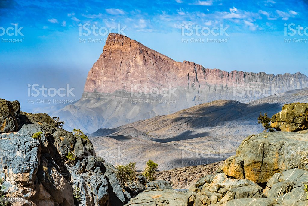 Mountain road to Jebel Shams, Sultanate of Oman stock photo