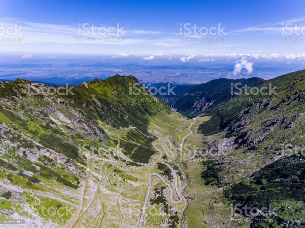 Mountain road Transfagarasan viewed from above stock photo
