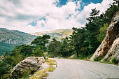 Mountain Road Under Sunny Blue Sky. Verdon Gorge In France.