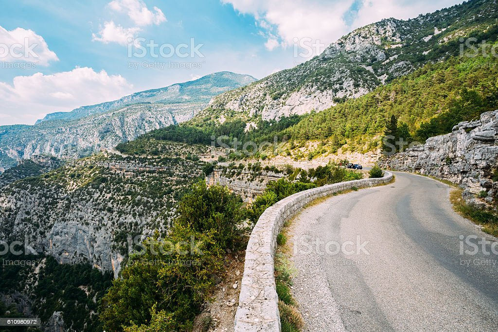 Mountain Road Under Sunny Blue Sky. Verdon Gorge In France. stock photo