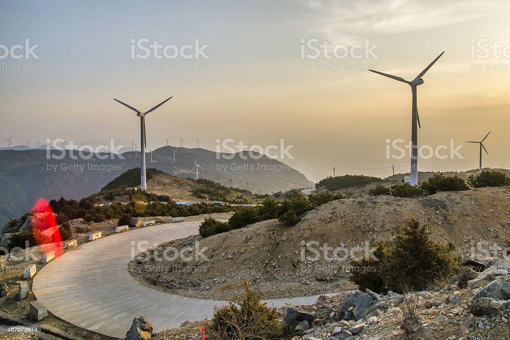 Mountain road Windmills stock photo