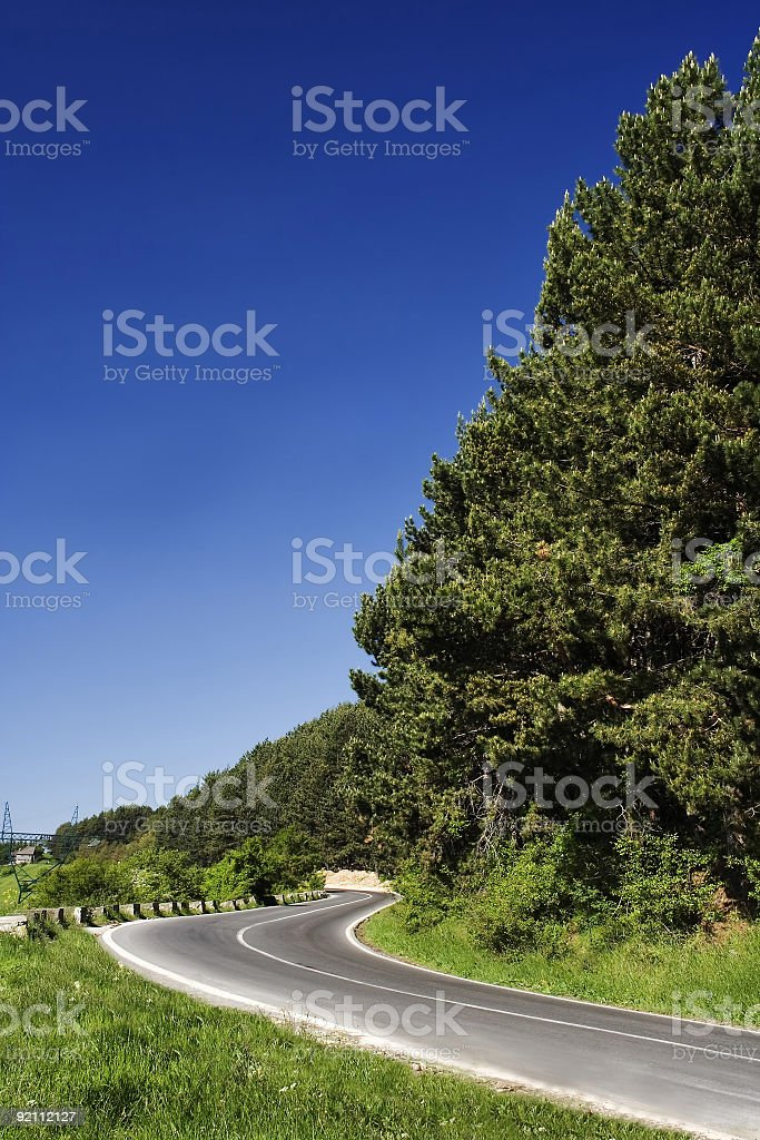 mountain road with beautiful blue sky stock photo