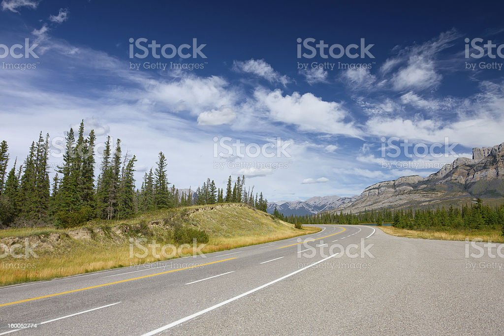 Mountain Road with Double Yellow Line, Jasper National Park, Canada royalty-free stock photo