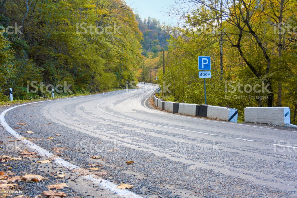 mountain road with hairpin turns stock photo