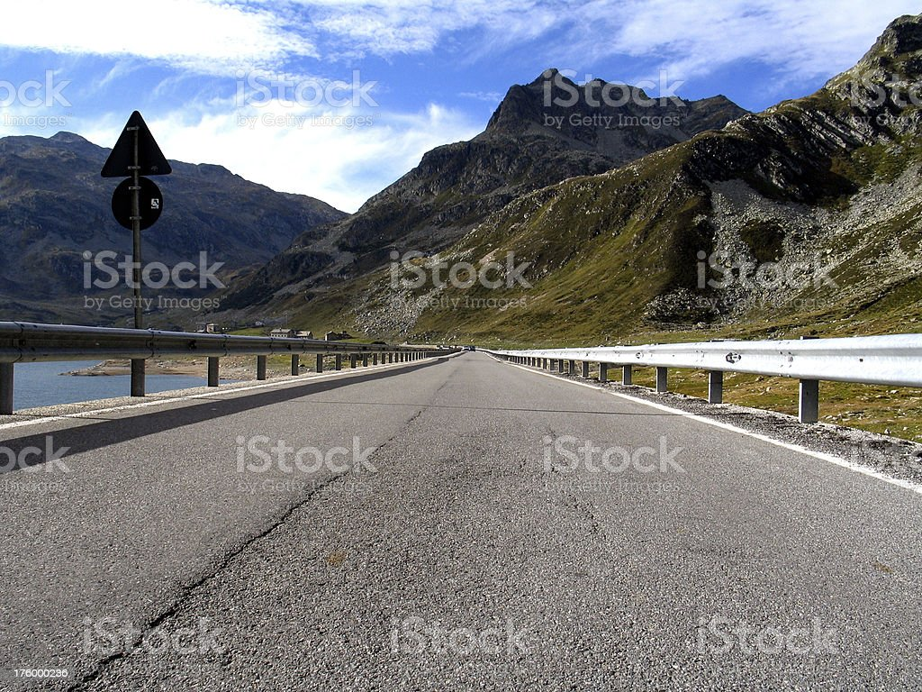 Mountain Road with Safety Fence royalty-free stock photo