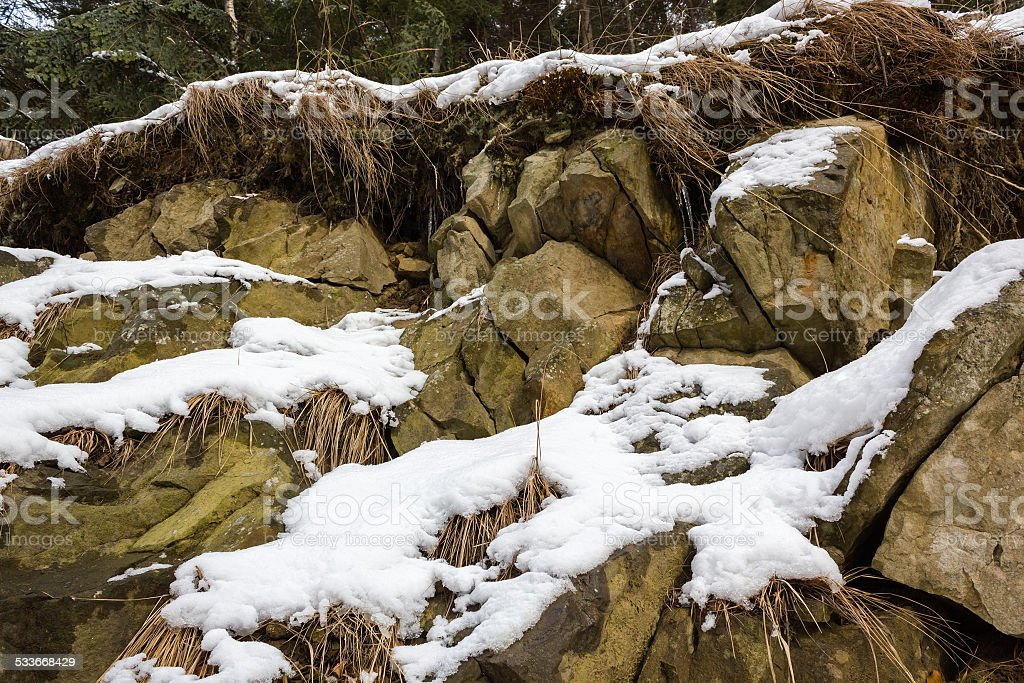 Mountain Rock in Winter stock photo