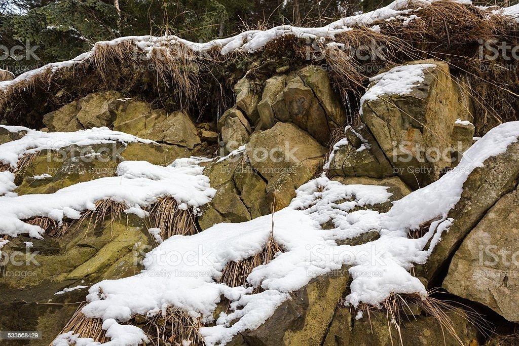 Mountain Rock in Winter stock photo