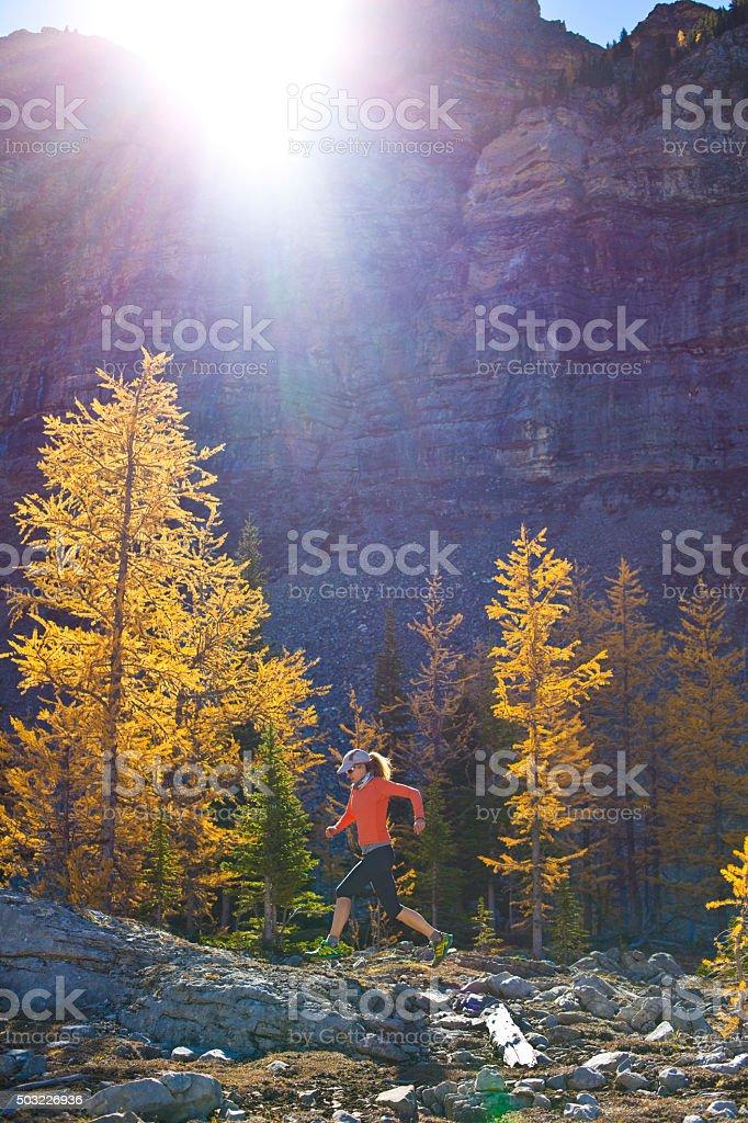 Mountain Runner Girl stock photo