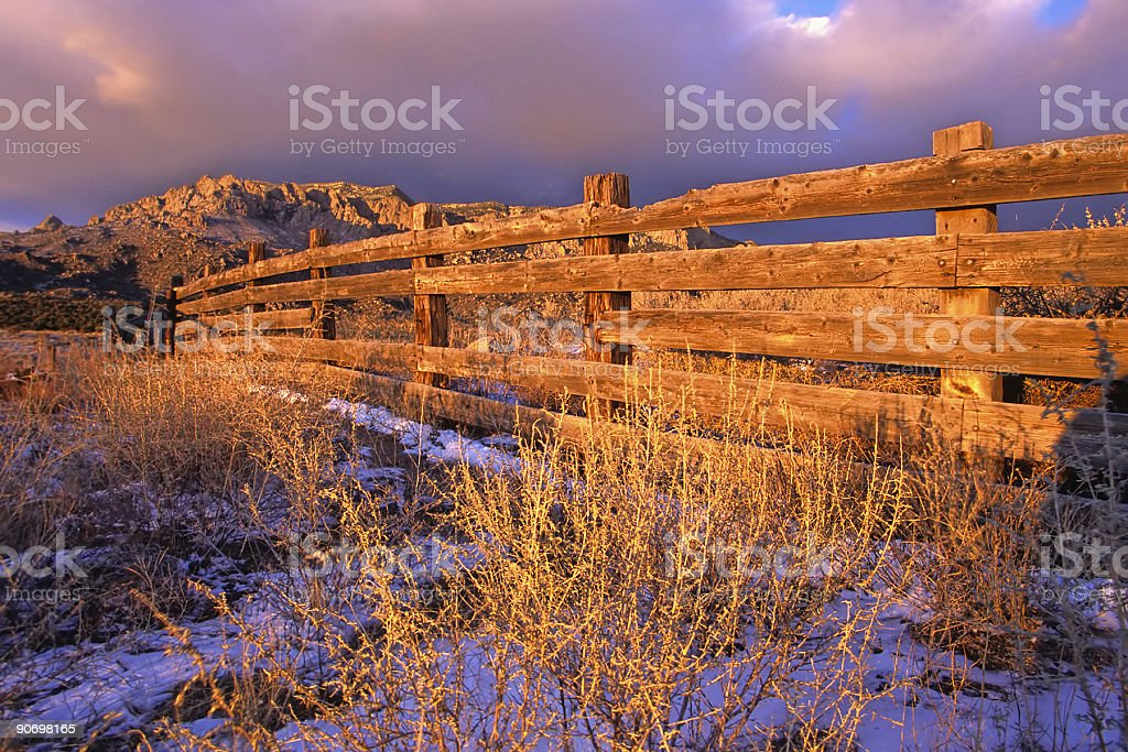 mountain sage fence sunset royalty-free stock photo