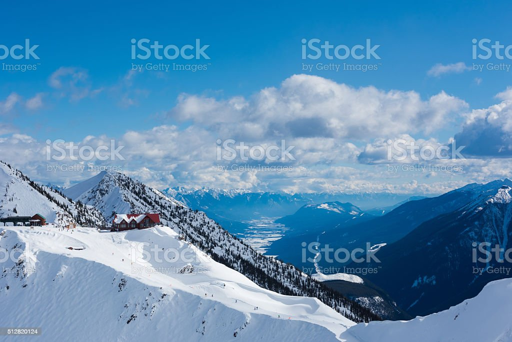 Mountain scenery at Kicking Horse Resort in Golden, BC stock photo