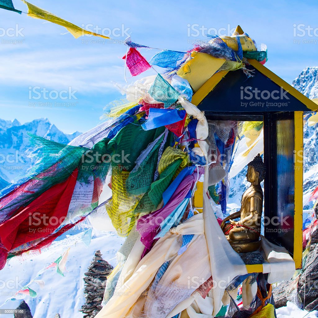 mountain scenery from gokyo ri with prayer flags. Nepal stock photo