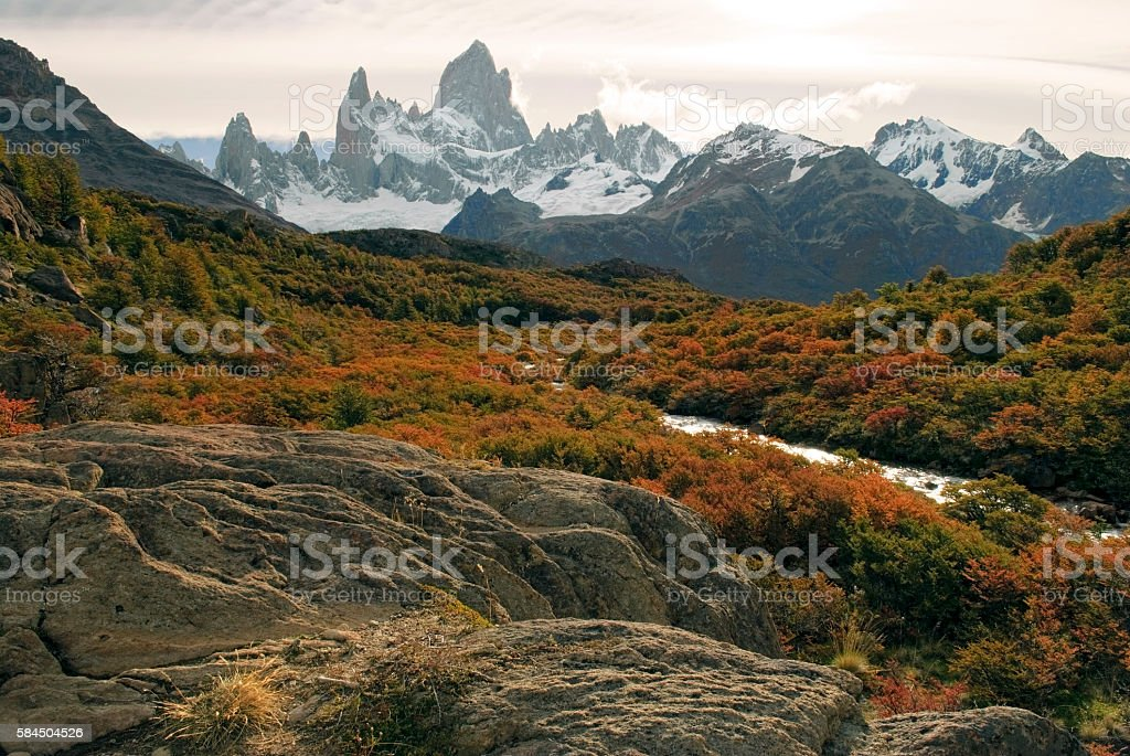 Mountain scenery in autumn colors, fitz roy massif sunset stock photo