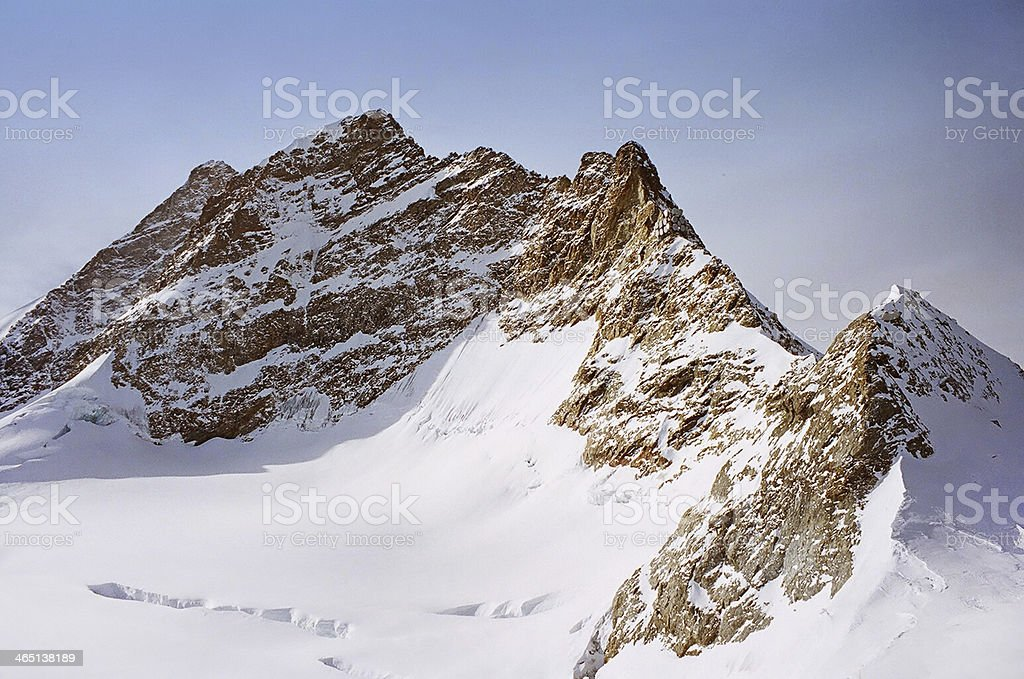 Mountain scenery of Swiss Alps from Jungfraujoch royalty-free stock photo