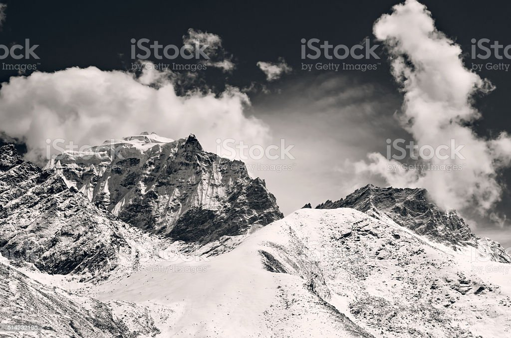 Mountain scenery on the Mount Everest Base Camp, Himalaya, Nepal stock photo