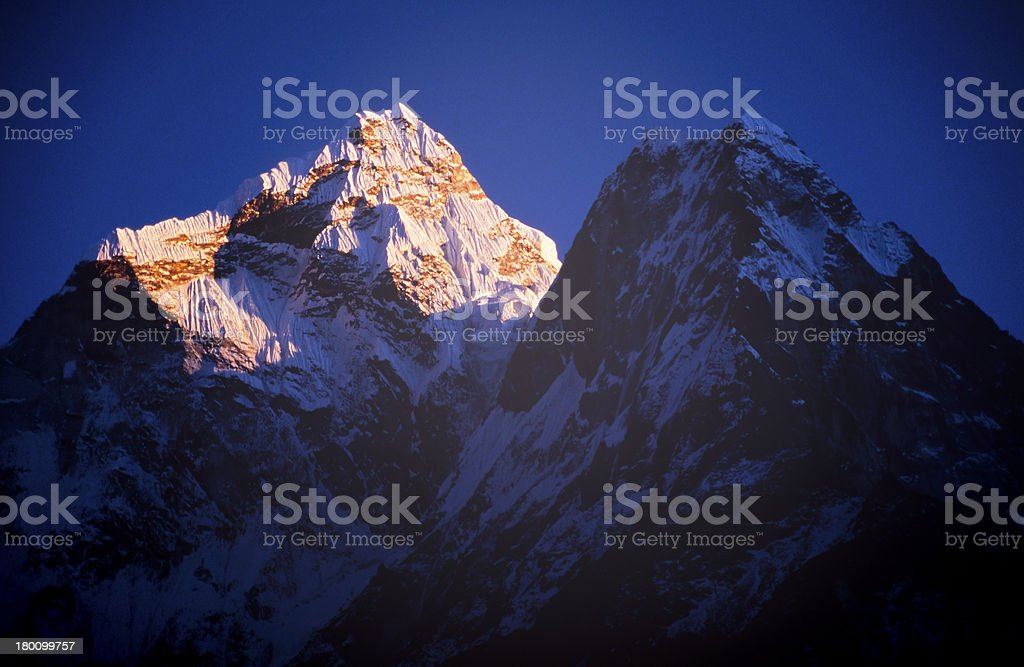 Mountain scenery on the Mount Everest base camp in Nepal. royalty-free stock photo