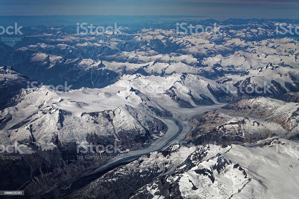 Mountain Scenery over British Columbia stock photo