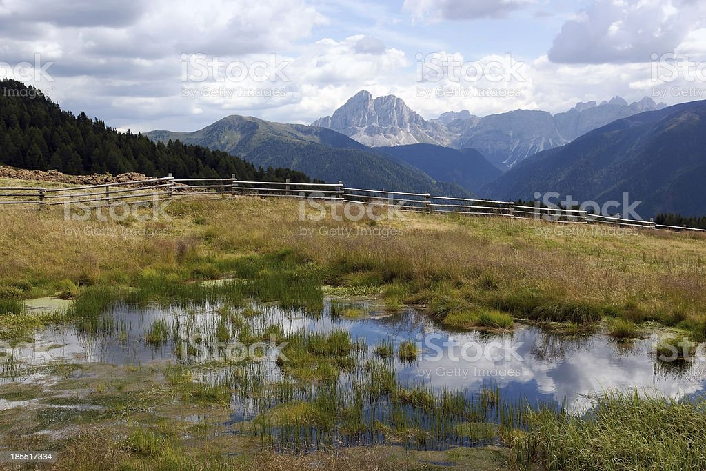 Mountain scenery with reflecting water stock photo