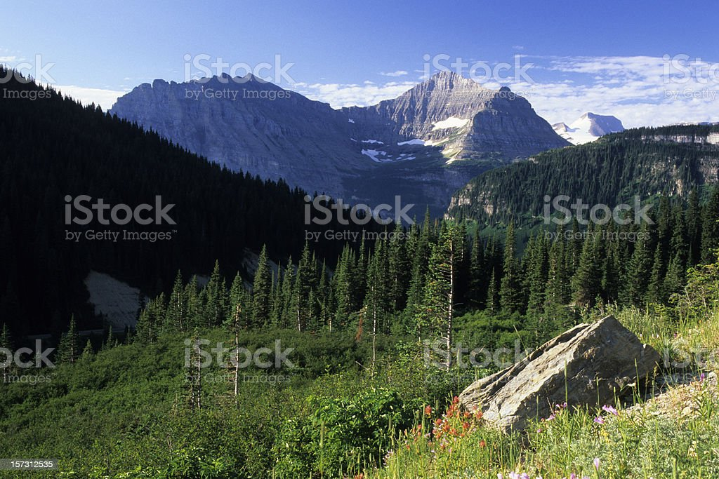 Mountain Scenics at Glacier National Park royalty-free stock photo