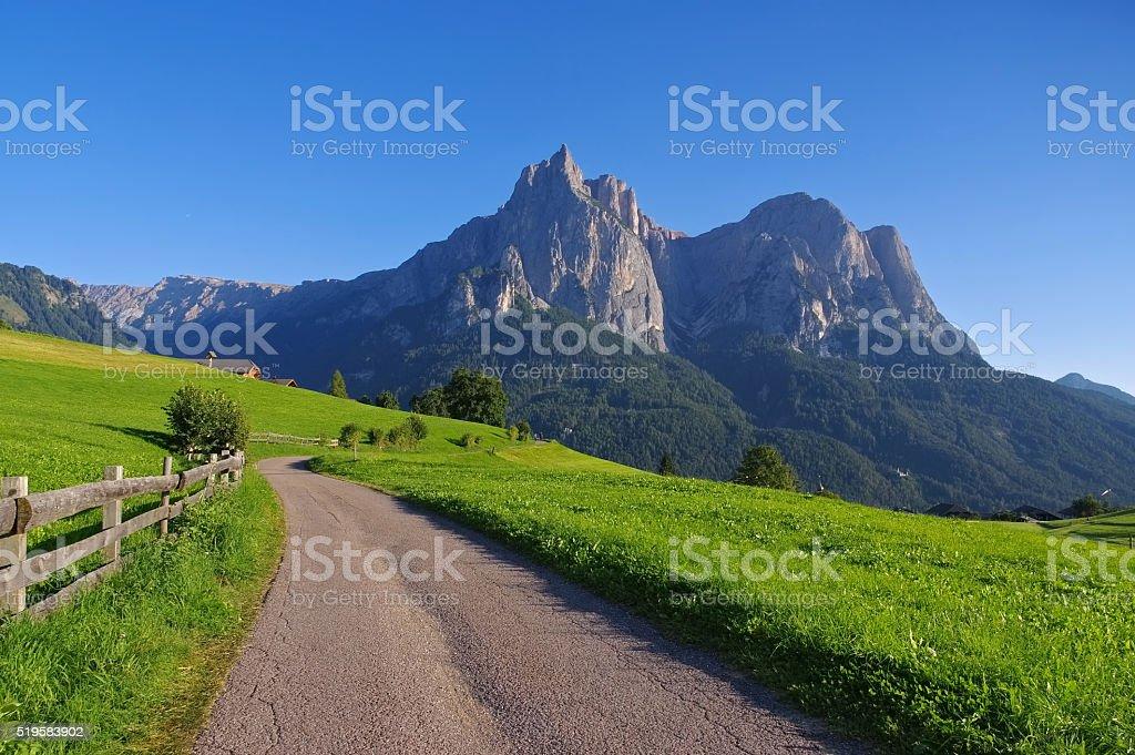 mountain Schlern in Dolomites stock photo