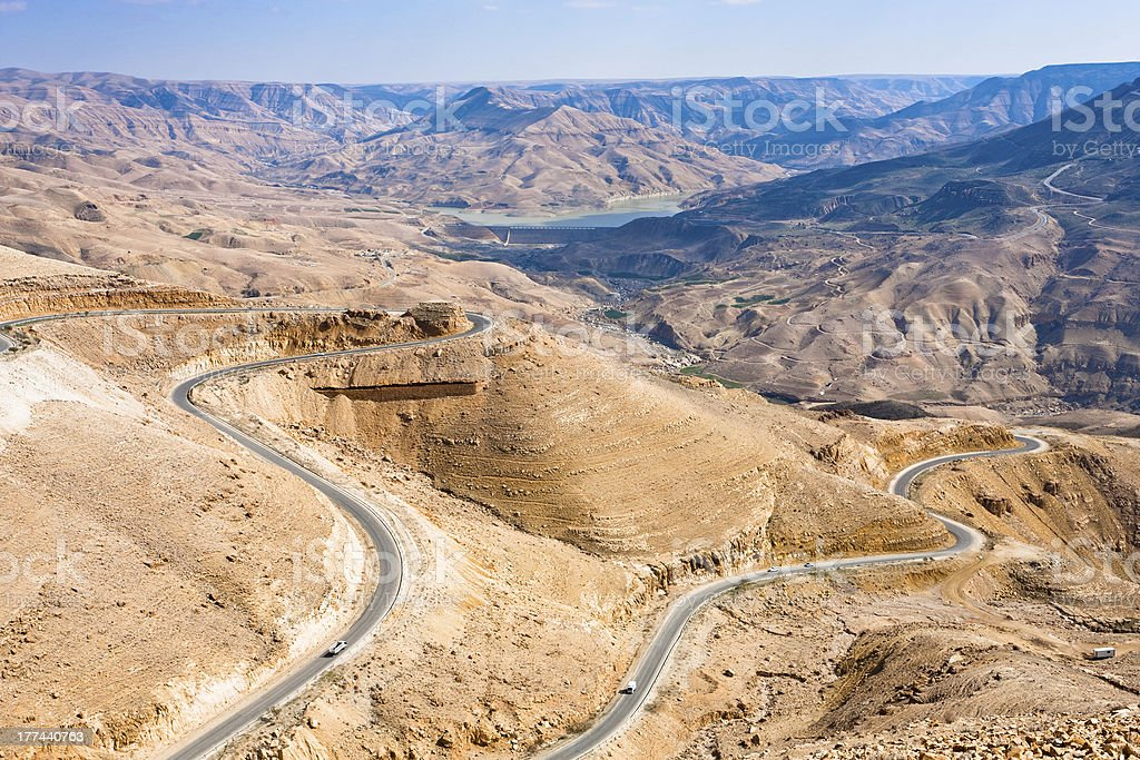 mountain serpentine King's road, Jordan stock photo