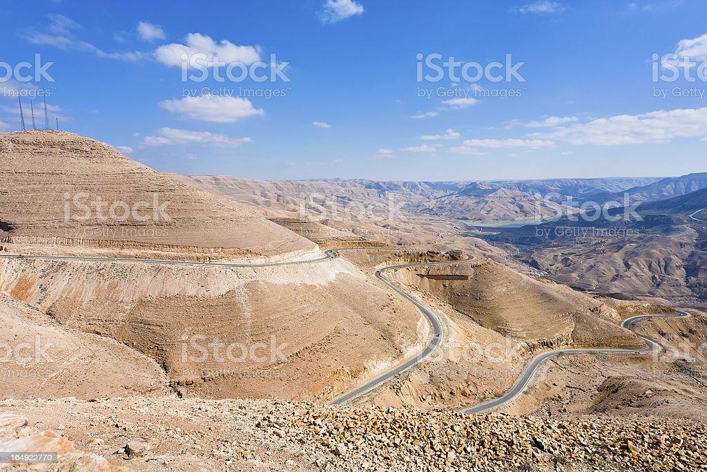 mountain serpentine road, Jordan stock photo