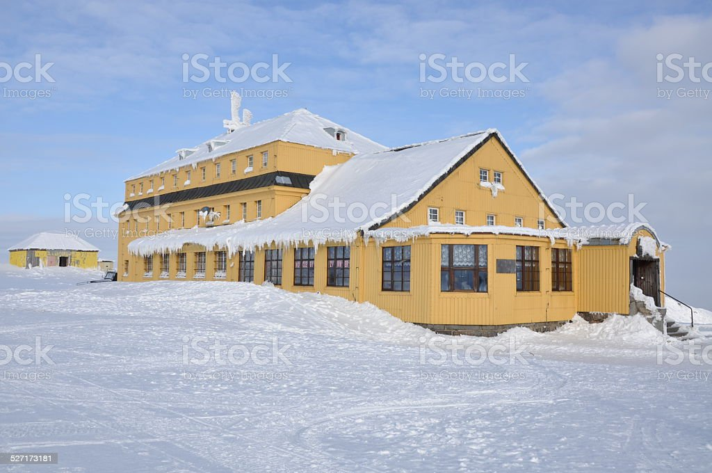 Mountain shelter in the Sudetenland stock photo