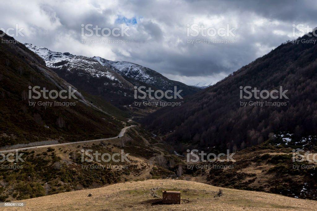 Mountain shelter stock photo