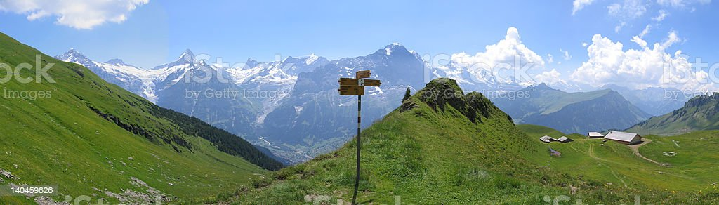 Mountain signpost stock photo