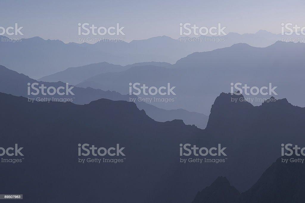 Mountain silhouettes stock photo